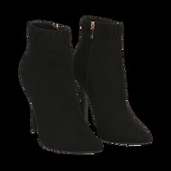 Ankle boots neri in microfibra, tacco 10 cm , Stivaletti, 142146863MFNERO035, 002 preview