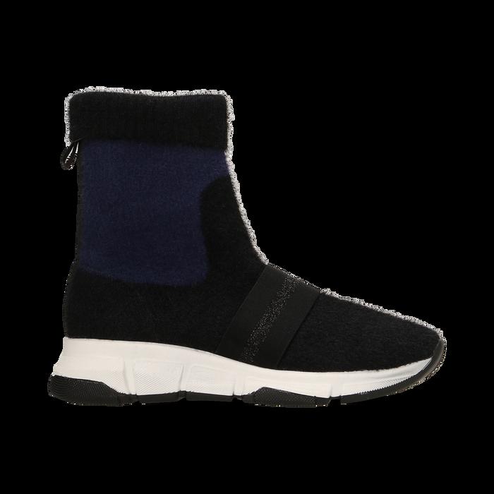 Sneakers nero-blu sock boots con suola in gomma bianca, Primadonna, 124109763TSNEBL036