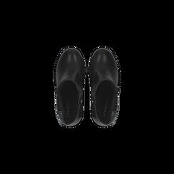 Chelsea Boots neri, suola in gomma e tacco 10 cm, Scarpe, 129300511EPNERO, 004 preview