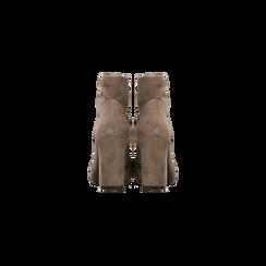 Tronchetti taupe con catena e frange, tacco 9,5 cm, Scarpe, 122186592MFTAUP, 003 preview