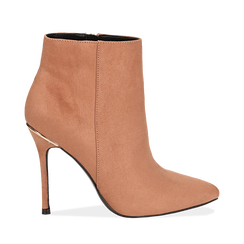 Ankle boots nude in microfibra, tacco 10,5 cm , Scarpe, 142168616MFNUDE035, 001a