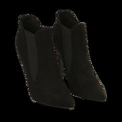 Ankle boots neri in microfibra, tacco 10,50 cm , Primadonna, 162123741MFNERO035, 002a