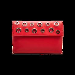 Pochette bustina rossa in ecopelle con oblò dorati, Borse, 123308604EPROSSUNI, 001 preview