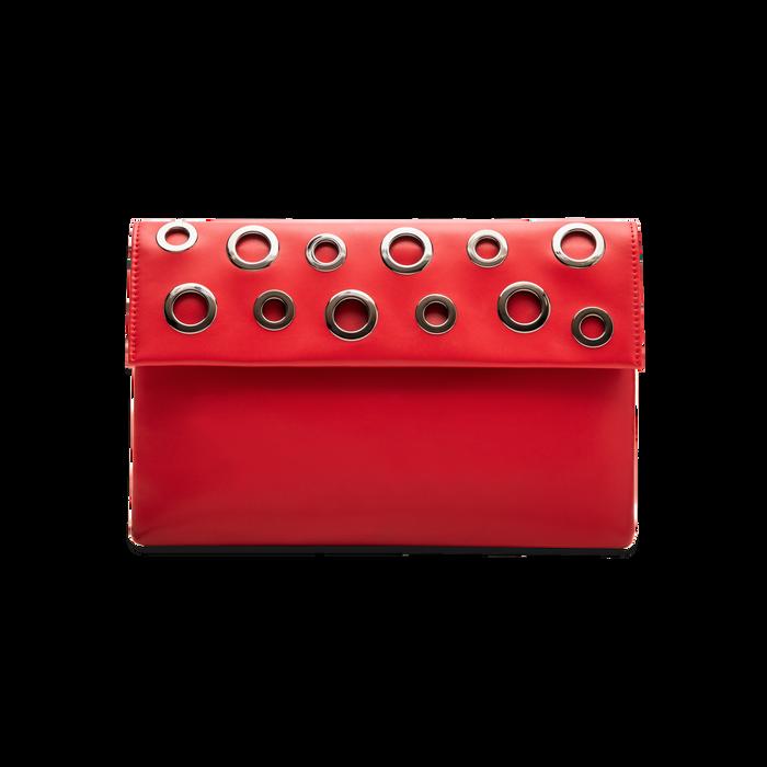 Pochette bustina rossa in ecopelle con oblò dorati, Borse, 123308604EPROSSUNI