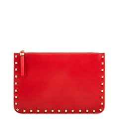 Clutch rossa in ecopelle con profilo mini-borchie, Saldi, 123308330EPROSSUNI, 001a