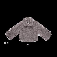 Pelliccia grigia corta eco-shearling, manica lunga, Abbigliamento, 12B432302FUGRIG, 001 preview