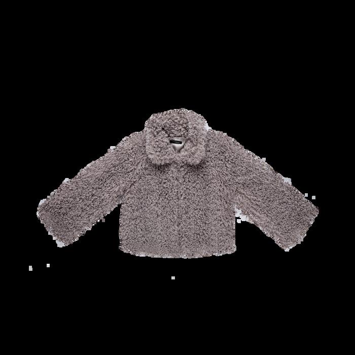 Pelliccia grigia corta eco-shearling, manica lunga, Abbigliamento, 12B432302FUGRIG