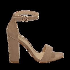 Sandali beige in microfibra, tacco 10,50 cm, Scarpe, 152706086MFBEIG035, 001a