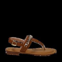 Sandali infradito cuoio in eco-pelle con catenella, Primadonna, 134988163EPCUOI035, 001a