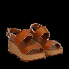 Sandali platform cuoio in eco-pelle, zeppa 5 cm , Saldi Estivi, 13C700258EPCUOI035, 002a