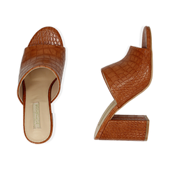 Mules cuoio in eco-pelle cocco print, tacco 9 cm , Chaussures, 152783430CCCUOI036, 003 preview