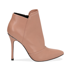 Ankle boots nude in eco-pelle, tacco 10, 50 cm , Scarpe, 142146864EPNUDE035, 001 preview