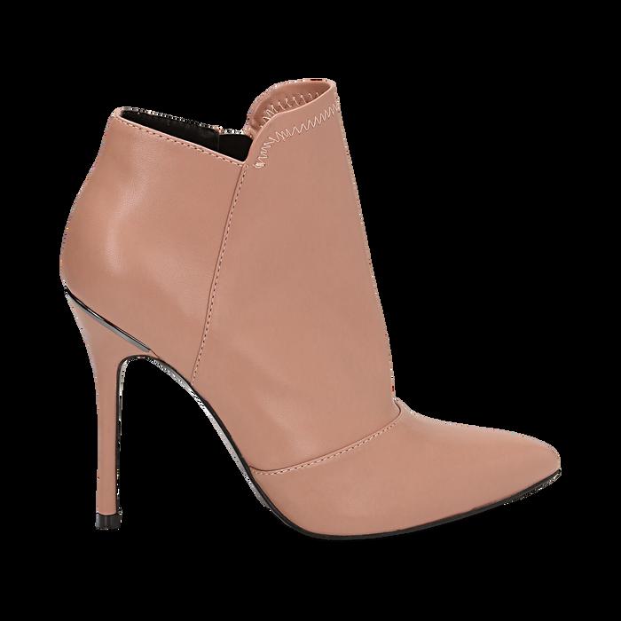 Ankle boots nude in eco-pelle, tacco 10, 50 cm , Scarpe, 142146864EPNUDE035