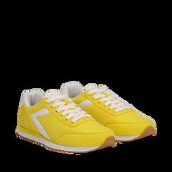 Sneakers gialle in tessuto, design aerodinamico, Scarpe, 132619024TSGIAL035, 002a