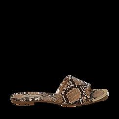 Mules flat beige in eco-pelle, effetto snake skin , Saldi Estivi, 134989113PTBEIG035, 001a