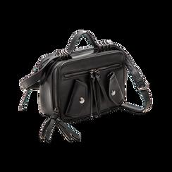 Camera bag con tracolla nera in ecopelle, Saldi, 122440791EPNEROUNI, 003 preview
