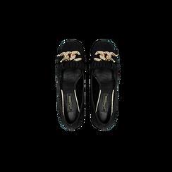Mocassini décolleté scamosciati neri con frange, tacco 5,5 cm, Scarpe, 122186581MFNERO, 004 preview