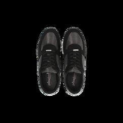 Sneakers nere con maxi platform a righe bianche e nere, Scarpe, 122707075MFNERO, 004 preview