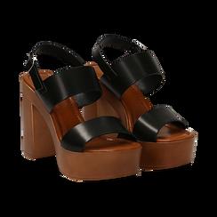 Sandali platform neri in eco-pelle con due fasce, tacco 12 cm , Saldi Estivi, 132147761EPNERO035, 002 preview