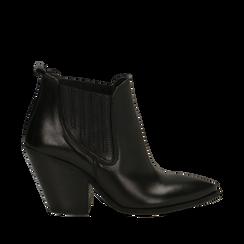 Stivaletti Camperos neri in vera pelle con banda elastica, tacco 8,5 cm, Primadonna, 128900400VINERO036, 001a
