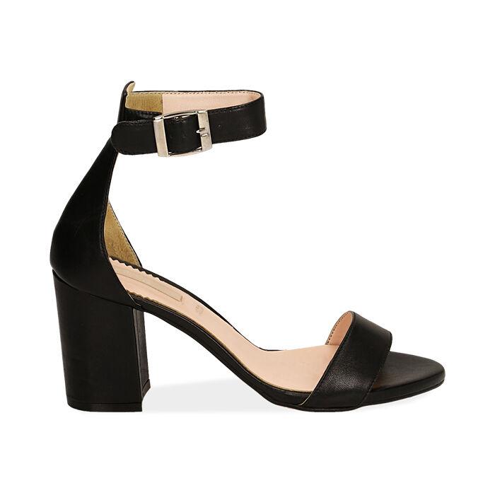 Sandali neri in pelle di vitello, tacco 8,5 cm, Primadonna, 15D600501VINERO040