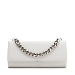 Pochette bianca in eco-pelle con maxi-catena, Borse, 133322173EPBIANUNI, 001a