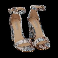 Sandali celesti stampa pitone, tacco 10,5 cm, Primadonna, 152709444PTCELE039, 002a