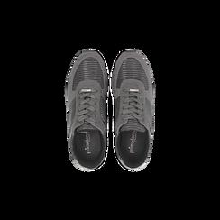 Sneakers grigie con maxi platform a righe bianche e nere, Primadonna, 122707075MFGRIG, 004 preview