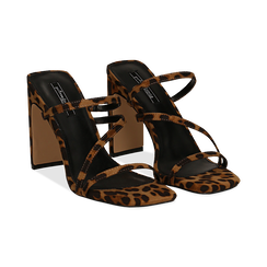 Sandali con punta quadrata leopard in microfibra, tacco 10 cm, Scarpe, 131785322MFLEOP035, 002 preview