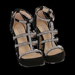 Sandali neri in microfibra, tacco 12,50 cm, Scarpe, 152150112MFNERO035, 002a