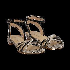 Sandali flat multilistino nero in eco-pelle, effetto snake skin,