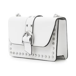 Borsa piccola bianca in eco-pelle con borchie, Borse, 132300503EPBIANUNI, 004 preview