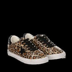 Sneakers leopard in eco-pelle con dettagli neri, Scarpe, 13A801287EPNERO035, 002a