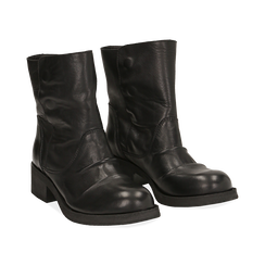 Biker boots neri in pelle, tacco 4 cm , Stivaletti, 147718214PENERO036, 002 preview