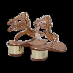 Sandali gioiello infradito rosa in laminato, tacco 6 cm, Primadonna, 134986238LMROSA035, 004 preview