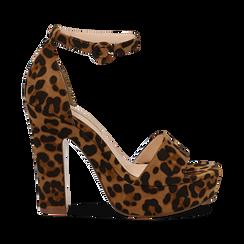 Sandali leopard in microfibra con plateau, tacco 13 cm, Sandali con tacco, 138404163MFLEOP036, 001 preview