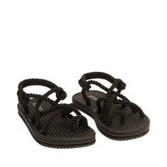 Sandalias de mar negras de tela, 170909002TSNERO036, 002a