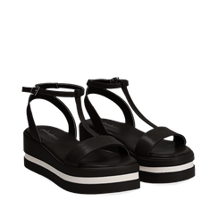 Sandali platform neri in eco-pelle, zeppa 5 cm , Primadonna, 132147513EPNERO035, 002a