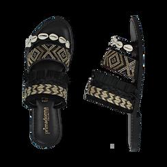 Ciabatte nere in rafia con conchiglie, Scarpe, 15K904448RFNERO, 003 preview