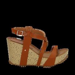 Sandali platform cuoio in eco-pelle, zeppa in sughero 9 cm , Primadonna, 134901921EPCUOI035, 001a