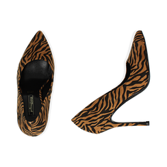 Décolleté zebrate in microfibra, tacco 11 cm , Primadonna, 162146861MFZEBR035, 003 preview