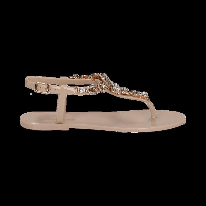 Sandali infradito nude in pvc con strass, Primadonna, 130900001PVNUDE035