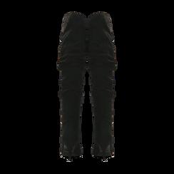 Stivali neri scamosciati con gambale drappeggiato, tacco medio 4 cm, Primadonna, 122707336MFNERO, 003 preview