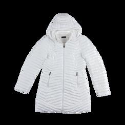 Piumino Bianco Donna Lungo con Cappuccio, Abbigliamento, 128500502TSBIAN, 001a preview