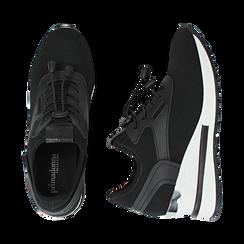 Sneakers nere in tessuto con zeppa, Primadonna, 152803421TSNERO036, 003 preview