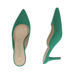 Mules verdi in microfibra, tacco 7,50 cm , Scarpe, 152133675MFVERD038, 003 preview