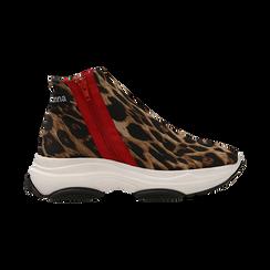 Sneakers leopard in lycra con zip, Scarpe, 12A783210LYLEOP, 001 preview