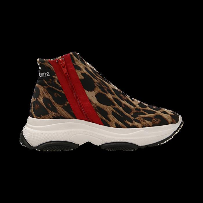Sneakers leopard in lycra con zip, Scarpe, 12A783210LYLEOP