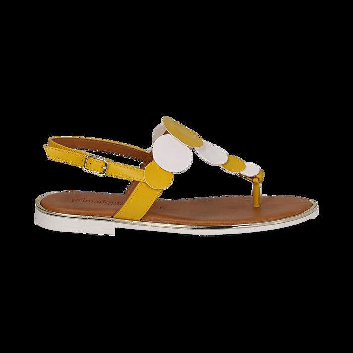 Sandali flat gialli in eco-pelle, Primadonna, 136102170EPGIAL036