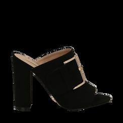 Mules open-toe nere in microfibra con fibbia, tacco 10 cm, Scarpe, 132760838MFNERO035, 001a